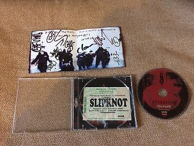 Slipknot Self titled CD Album Signed By All Members Manchester 2000 Ticket Stub