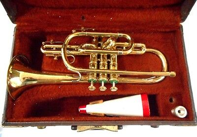 F.E. Olds Ambassador Brass Trumpet w/ Case, Mouthpiece, Mute, Oil, Lyre, Brushes
