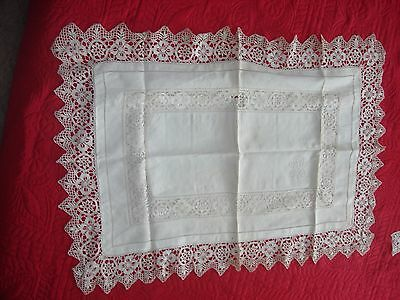"Pair Silk Lace Trimmed Edwardian Pillow Shams Mono ""SCS"" Cluny Maltese Trouseau"
