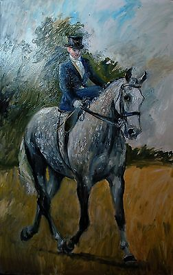 ORIGINAL OIL PAINTING of  a LADY RIDING A  DAPPLE GREY SIDE SADDLE