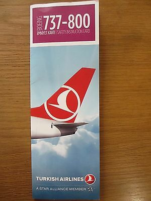 Turkish Airlines Boeing 737-800 airline safety card 201609 MINT