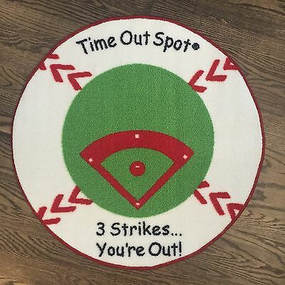 TIME OUT RUG Baseball round Child to Cherish Time Out Spot Non skid backing NEW
