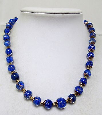 Stunning vintage Deco blue/gold glass bead necklace + 1