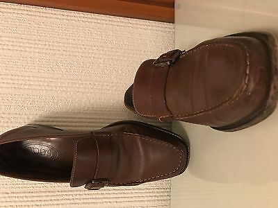 Mens TOD's Brown Leather Buckle Loafer UK9