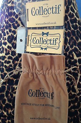 COLLECTIF 2 compact vanity mirrors gold and accessory pouch BNWT pinup collectab