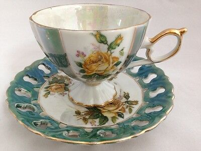 Napco Japan Ceramic Footed Tea Cup & Saucer C-351w/Yellow Roses