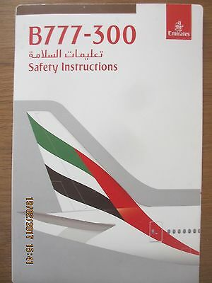 Emirates Airlines Boeing B777-300 airline safety card Version 2/10083280/2/16