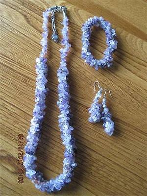 Incredible Natural Amethyst Chip Bead Necklace Bracelet & Dangly Earrings Parure