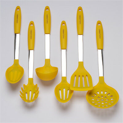 Yellow Cooking Utensil Set - Stainless Steel & Silicone Heat Resistant Kitchen