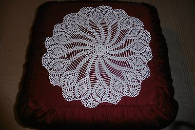 Handmade Round Lace Tablecloth - White Starched Ruffle  Cotton Crochet