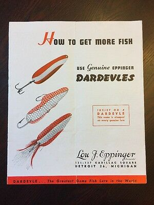 VINTAGE Rare Eppinger Dardevle FISHING TACKLE CATALOG Color Free Shipping