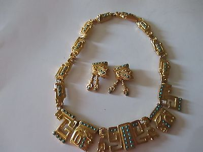 VTG. 1950'S signed Salvador TERAN Marbel TURQUOISE FACE NECKLACE  EARRINGS