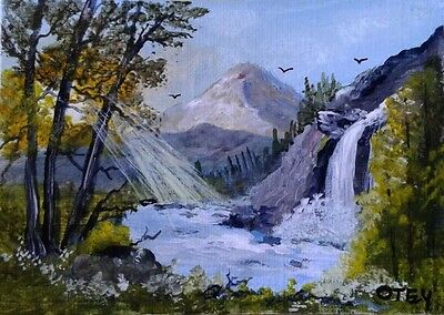 ACEO, original, acrylic on canvas paper,landscape, US artist,Waterfall & Sunrays
