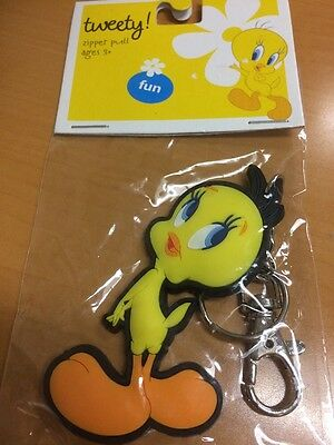Warner Bros. Tweety Bird Zipper Pull Soft Flexible Plastic Keychain - NEW!