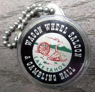 1950s-60s HARVEYS WAGON WHEEL SALOON GAMBLING HALL Tahoe Nevada Encased Key Tag