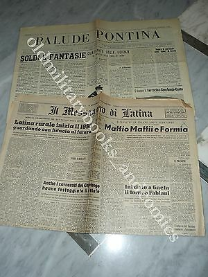 1 nm GIORNALE PALUDE PONTINA ed 1 nm IL MESSAGGERO DI LATINA DEL 1958 LITTORIA