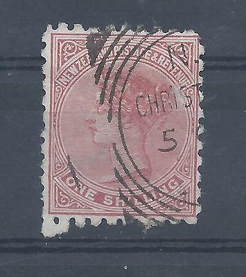 New Zealand stamps. 1s Queen Victoria used. Perf 10. (Y627)