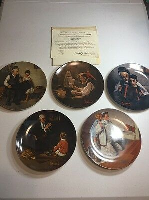 """Lot of 5 Knowles Norman Rockwell """"Heritage Series"""" Collectors Plates"""