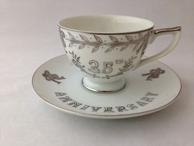 Lefton China Hand Painted 25th Anniversary #281 Tea Cup & Saucer