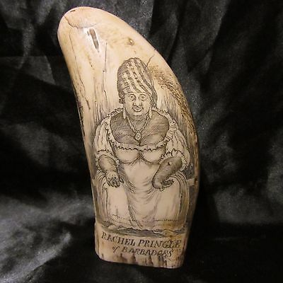 Replica Whale tooth Scrimshaw Rachel Pringle FAUX