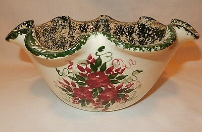 "Large 11 1/2"" Green Spongeware Stoneware Mixing Serving Bowl Handpainted Flower"