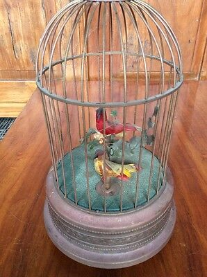Antique Animated Singing Two Bird Cage Music Box Works