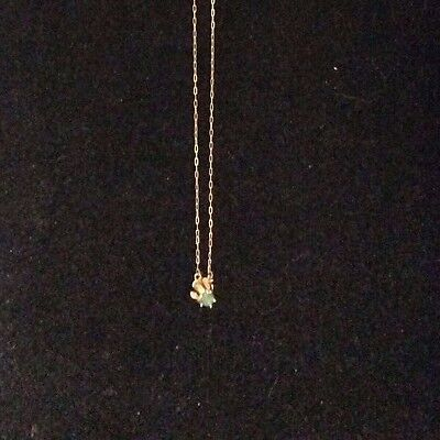 Vintage 14K Yellow Gold Emerald Pendent With Chain
