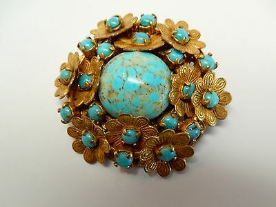 Vintage Signed Miriam Haskell Turquoise Stone on Gold Tone Flower Brooch Pin