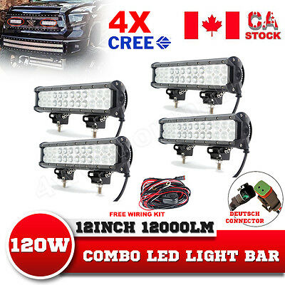 4X 12Inch 120W CREE Led Light Bar Flood Spot Combo Offroad 4WD SUV Driving Lamp