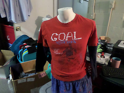 Cherokee long sleeve Red and Blue graphic T- shirt (Goal ) sz L 12/14 @