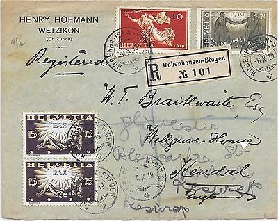 lot 123 Swizerland 1919 registered cover to England