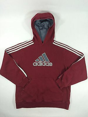 Adidas Hoodie Cotton Solid Color Stripes Pullover Sweat Shirt Maroon Youth Large