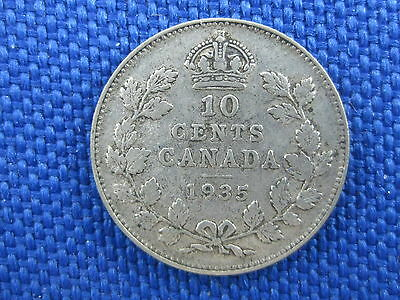 1935 Canada Silver King Edward Vii 10 Cent Coin