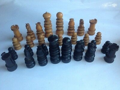 Old carved wooden Staunton Chess set by F.H.Ayres/Jaques Box No Lid Damage