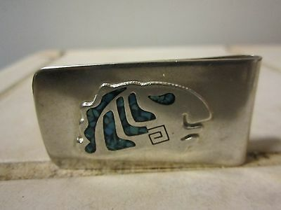 Gorgeous Taxco Mexico  AZTEC Turquoise Inlay Sterling Silver Money Clip