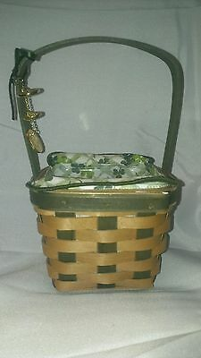 2009 Longaberger LUCKY WISH Basket w/Liner & Protector, Coins.St. Patrick's Day