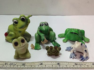 Lot of 6 Vintage Small Frog Figurines. 1 Playing Cards, 1 by Josef Originals etc