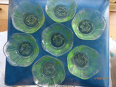 Vintage, Art Deco, Green Depression Glass, (7) Sweet Dishes