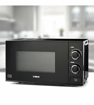NEW Tower T24014 20L Black Glass Front 700W Manual Twin Dial Microwave N/O