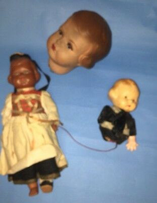 Lot Of Antique Celluloid Dolls For Parts  Or Repair