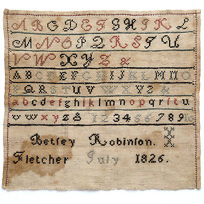Antique Early 19th c. Sampler Dated 1826