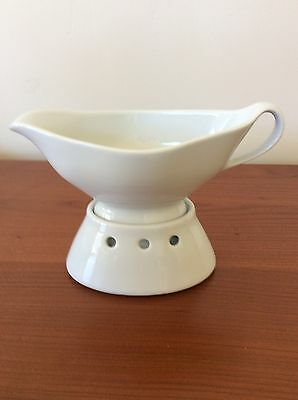 Pillivuyt France White Gravy Sauce Boat With Warmer