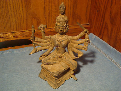 Old Brass Statue, Figurine, 4 Faces, 10 Arms