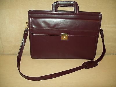 Cordovan~Wine~Leather Soft sided Briefcase~Attache~Shoulder strap~Nice