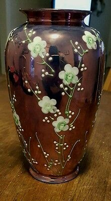 Antique Nippon Hand Painted Beaded Floral Purple Vase - Made In Japan