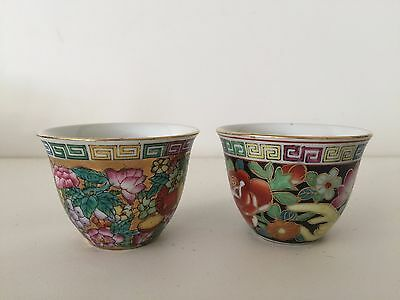 """2 Vintage Chinese Handpainted Floral Tea Cups, 2"""" Tall x 2 1/2"""" Diameter"""