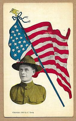 WWI Patriotic~U.S. Army Soldier Doughboy~Flag with Eagle Top~1918 C. Totta~j