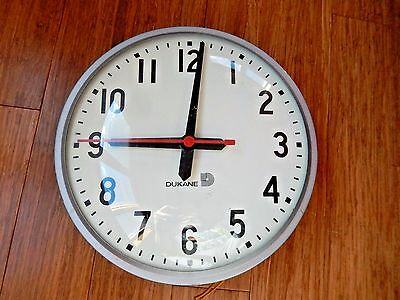 """Vintage DUKANE Synchronous School 11 1/2"""" Round Wall Clock"""