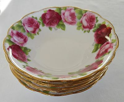 ROYAL ALBERT OLD ENGLISH ROSE Lot of 4 Soup Cereal Bowls