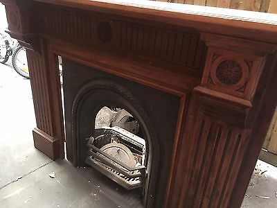 OLD Antique Cast Iron Fireplace and Timber Mantel